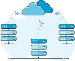 Many servers connected to the cloud