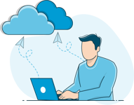 User in front of computer connected to cloud
