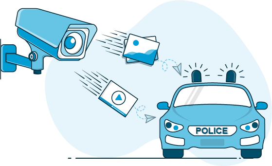 Camera sending pictures and video to a police car